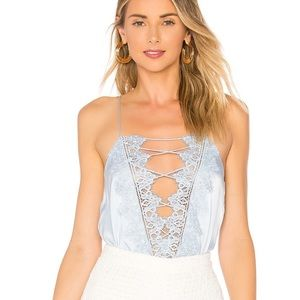 Cami NYC The Charlie Silk Light Blue Tank Top Lace